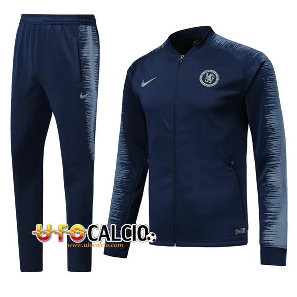 055f32f1a4 Nuova Tuta Calcio FC Chelsea Blu scuro 2018-2019 (Giacca + Pantaloni)