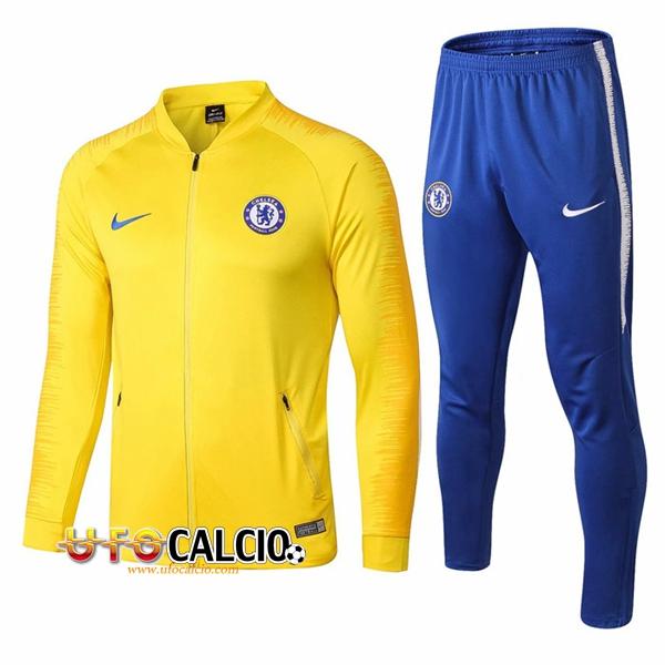 9a76633d6b Nuova Tuta Calcio FC Chelsea Giallo 2018-2019 (Giacca + Pantaloni)