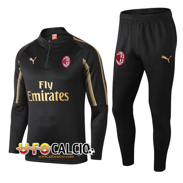 7cc4749e30 Nuova Tuta Calcio AC Milan Nero 2018-2019 (Felpa Allenamento + ...