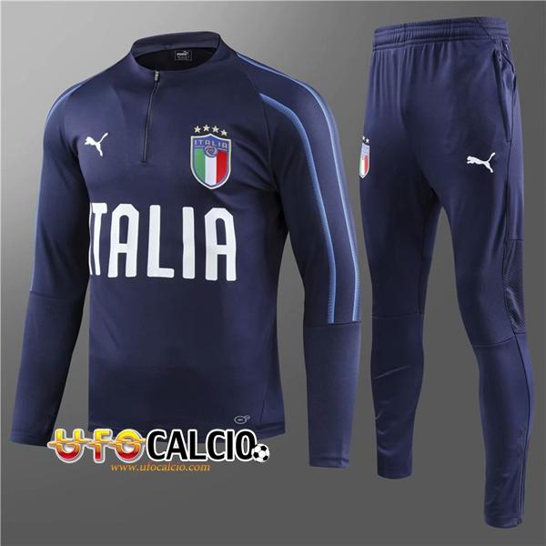 detailed pictures 6258e fb571 Nuova Tuta Calcio Italia Bambino Blu scuro 2018-2019 (Felpa ...